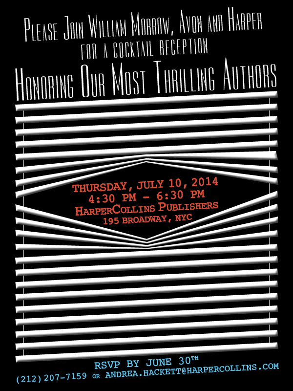 Invitation design for Thrillerfest 2014 (Client: HarperCollins Publishers)